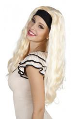 Peluca rubia de cabello largo con diadema mujer