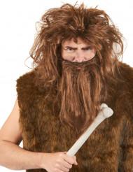 Peluca y barba de hombre cavernícola color marrón