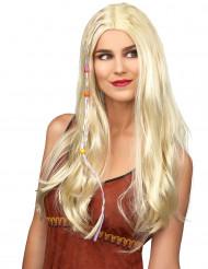 Peluca rubia hippie para adulto