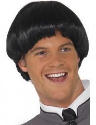 Peluca corta de cabello negro para hombre