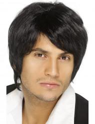 Peluca negra de cabello corto para hombre