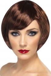 Peluca color castaño con glamour para mujer