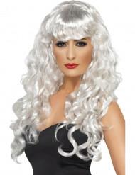 Peluca blanca de sirena para mujer