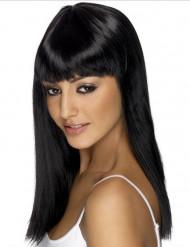 Peluca larga negra con flequillo para mujer