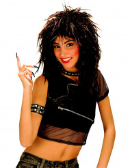 Peluca negra estilo rock para mujer