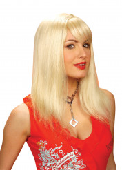 Peluca rubia de aspecto natural, para mujer