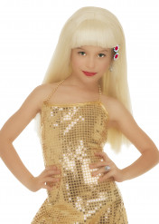 Peluca rubia con glamour para niña