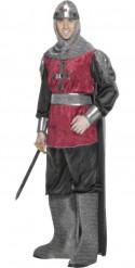 Disfraz de caballero medieval rojo terciopelo hombre