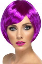 Peluca corta color violeta para mujer