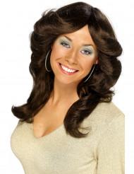 Peluca larga color castaño de los años 70 para mujer