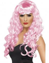 Peluca rosa ondulada de sirena para mujer