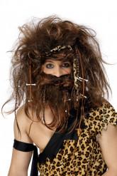 Peluca y barba de hombre cavernícola