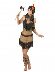 Disfraz de india marón y negro para mujer