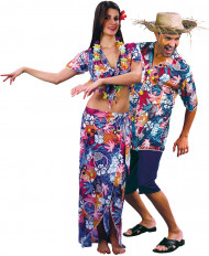 Disfraz de pareja de turistas hawaianos