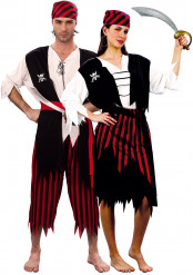 Disfraz de pareja de piratas hombre y mujer