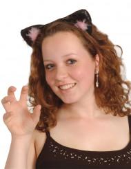 Orejas de gato negras y rosas