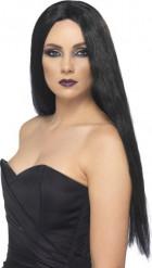 Peluca negra de bruja para mujer Halloween