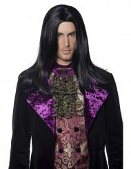 Peluca larga negra de conde para hombre Halloween