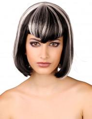 Peluca blanca y negra para mujer