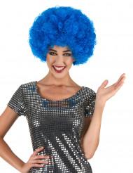 Peluca afro disco azul para adulto