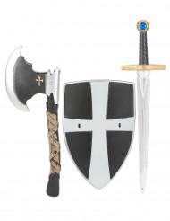 Escudo espada y hacha de caballero medieval