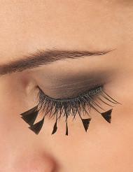 Pestañas postizas negras con pluma en los laterales
