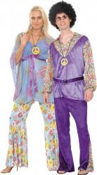 Disfraz de pareja de hippies de lujo
