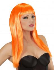 Peluca naranja con glamour para mujer