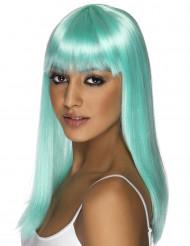Peluca azul turquesa con glamour para mujer