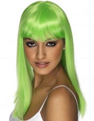 Peluca verde con glamour para mujer
