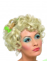 Peluca rubia corta y rizada para mujer
