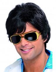 Peluca negra estilo años 70 para hombre