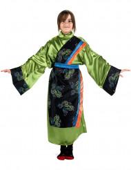 Disfraz verde de geisha para niña