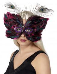 Antifaz de mariposa con plumas para adulto