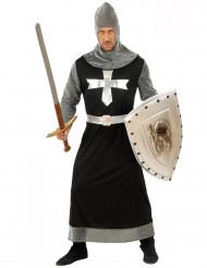 Disfraz de caballero medieval negro para hombre