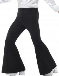 Pantalón negro de campana estilo disco para hombre