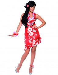 Disfraz blanco y rojo de hawaiana para mujer