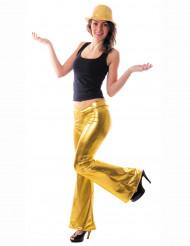 Pantalón dorado estilo disco para mujer