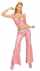 Pantalón rosa estilo disco para mujer