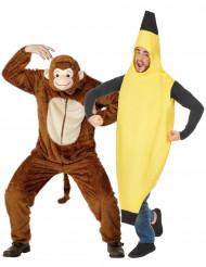 Disfraz de pareja de mono y plátano para adultos