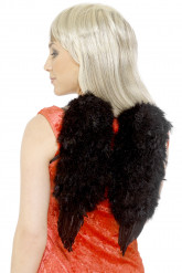 Alas negras con plumas para adulto, ideales para Halloween