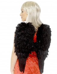 Alas negras con plumas para adulto ideales para Halloween