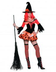 Disfraz de bruja color naranja y negro para mujer, ideal para Halloween