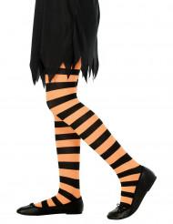 Pantys a rayas naranjas para niña, ideales para Halloween