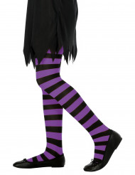 Pantys a rayas violetas para niña ideales para Halloween