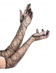 Guantes largos de telaraña para mujer, ideales para Halloween