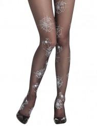 Pantys negros de telaraña para mujer, ideales para Halloween