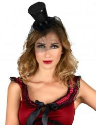 Minisombrero de copa negro de viuda para mujer
