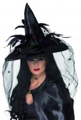 Sombrero de bruja de lujo para mujer, ideal para Halloween