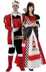 Disfraz de pareja de rey y dama de corazones para adultos